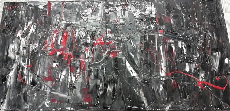 Abstrakt, Farben, Schwarz, Malerei