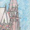 Kirche, Stadt, Zeichnung, Zeichnungen