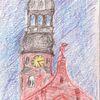 Kirche, Uhr, Bogen, Zeichnungen