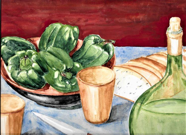 Aquarellmalerei, Martha krug, Stille, Leben, Malerei, Wein