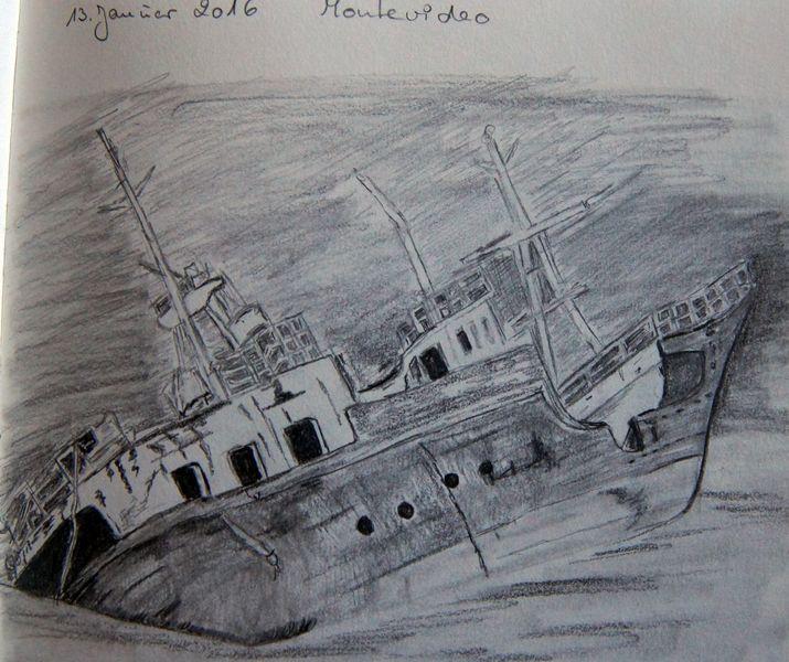 Zeichnung, Wrack, Schiff, Zeichnungen