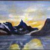 Landschaft, Norwegen, Ölmalerei, Natur