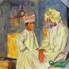 Gouachemalerei, Alter mann, Oman, Aquarell