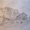 Hütte, Berge, Zeichnungen,