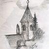 Kirche, Reiseskizze, Bleistiftzeichnung, Zeichnungen