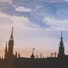 München, Gouachemalerei, Stadtsilhouette, Aquarell
