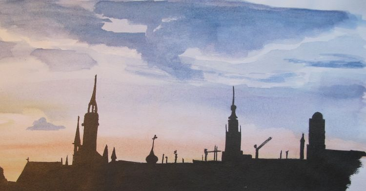 Stadtsilhouette, München, Gouachemalerei, Aquarell