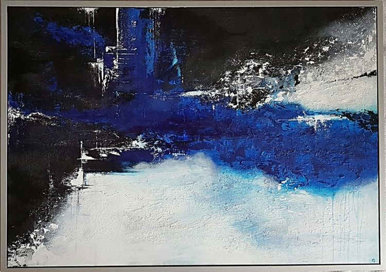 Gemälde acrylmalerei, Blau, Abstrakt, Moderne malerei, Weiß, Rahmen