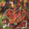 Herz bild, Spachteltechnik, Malerei abstrakt, Abstraktes herz