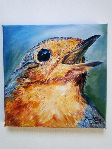 Vogel, Rotkehlchen, Frühling, Portrait, Malerei