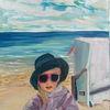 Mädchen, Strand, Meer, Malerei