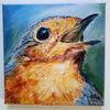 Rotkehlchen, Portrait, Vogel, Malerei