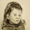 Kind, Portrait, In gedanken, Aquarell