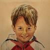 Junge, Portrait, Kind, Aquarell