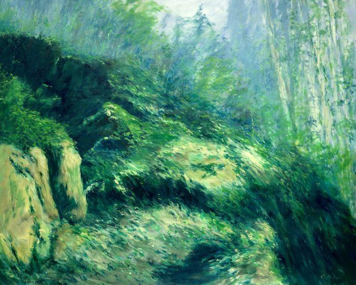 Tessin, Landschaft malerei, Wald bei ronco, Malerei