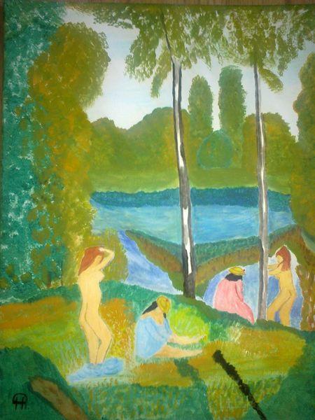 Landschaft, Abstrakte malerei, See, Frau, Malerei