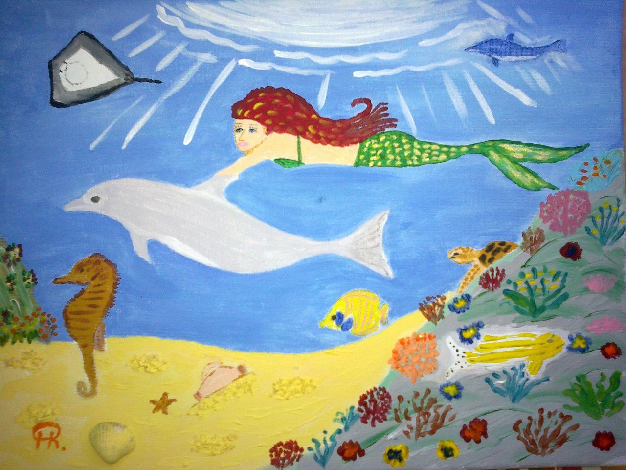 meerjungfrau mit delfin  comic abstrakte malerei