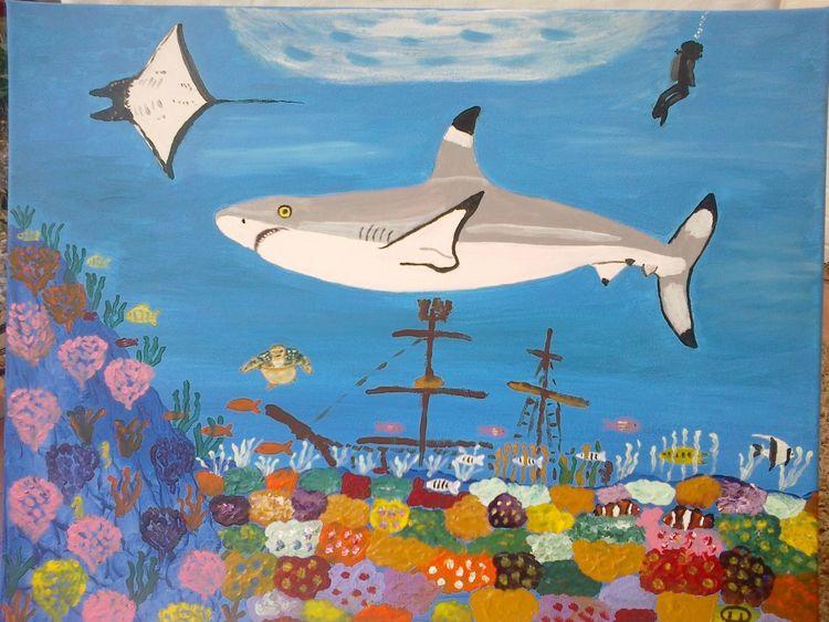 Abstrakte malerei, Unterwasserlandschaft, Hai, Malerei, Riff