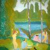Abstrakte malerei, Landschaft, See, Frau