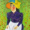 Frau, Abstrakte malerei, Landschaft, Malerei