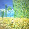 Baum, Menschen, Blumenwiese, Abstrakte malerei