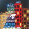 Fantasie, Abstrakte malerei, Landschaft, Haus