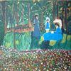 Blumen, Baum, Abstrakte malerei, Garten