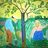 Abstrakte malerei, Landschaft, Garten, Baum