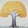 Herbst, Landschaft, Baum, Abstrakte malerei