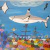 Unterwasserlandschaft, Abstrakte malerei, Hai, Malerei