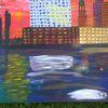 Abstrakte malerei, Hafen, Skyline, Hamburg