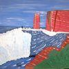 Abstrakte malerei, Meer, Insel, Malerei