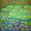 Abstrakte malerei, Pflanzen, Teich, Seerosen