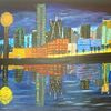 Abstrakte malerei, Stadt, Landschaft, Skyline