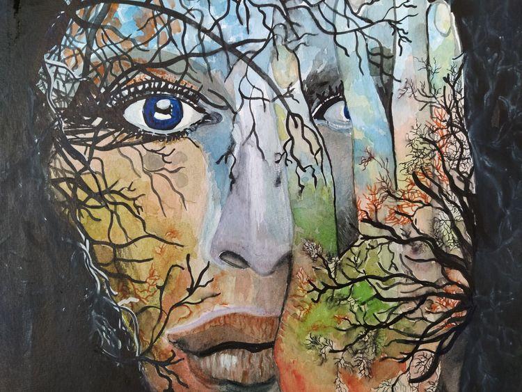 Gesicht, Fantasie, Natur, Aquarell 30x40, Zeigen, Aquarell