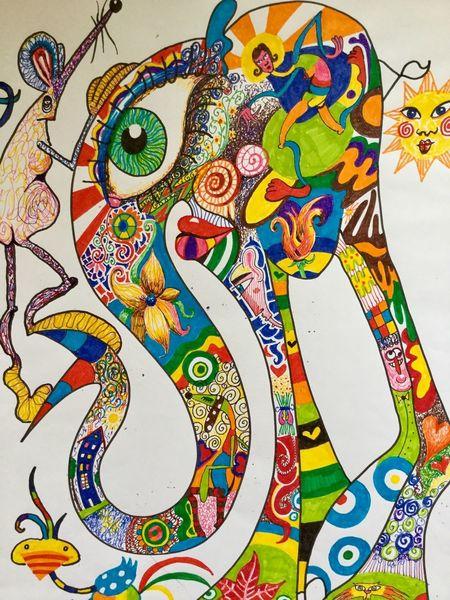Elefant, Farben, Humor, Freude, Fantasie, Zeichnungen