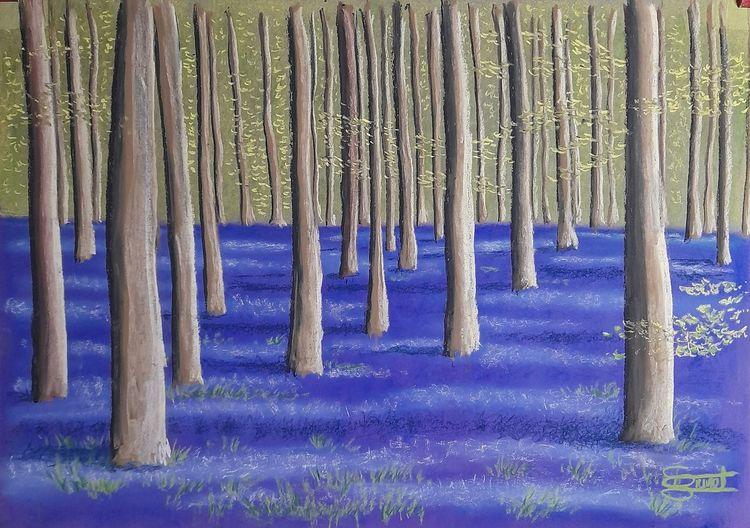Wald, Licht, Blaue blüten, Malerei