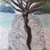 Wachstum, Felsen, Baum, Malerei