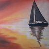 Meer, Segelboot, Spiegelung, Malerei