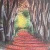 Weg, Wald, Schatten, Malerei