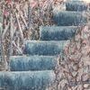 Treppe, Strauch, Malerei,