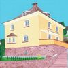 Haus, Roter sandstein, Malerei,