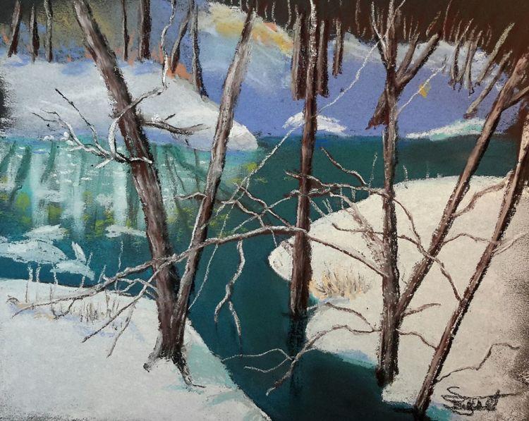 Bach, Wald, Schnee, Malerei