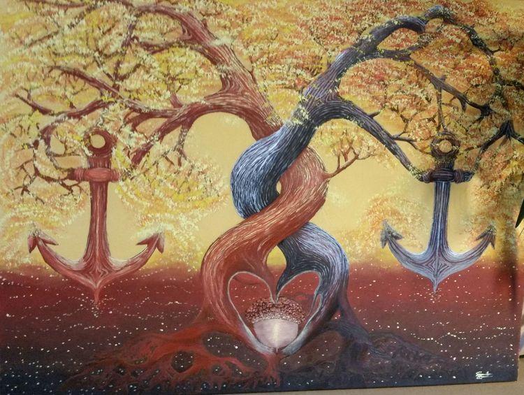 Anker, Baum, Landschaft malerei, Wurzel, Malerei