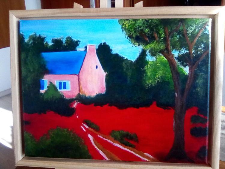Haus, Wiese, Rot, Acrylmalerei, Malerei