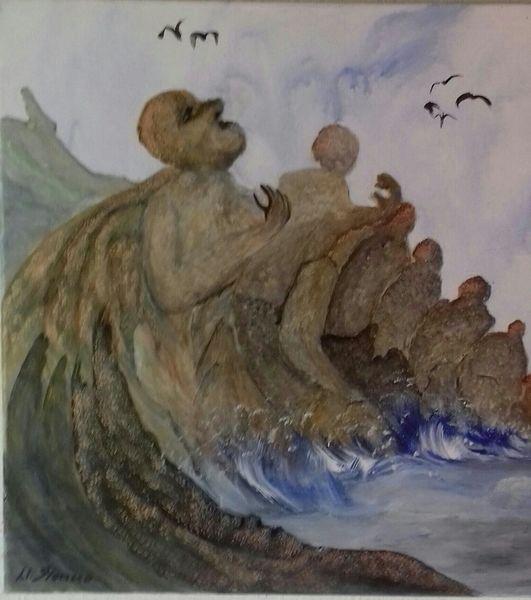 Vogel, Felsen, Himmel, Wasser, Brandung, Malerei