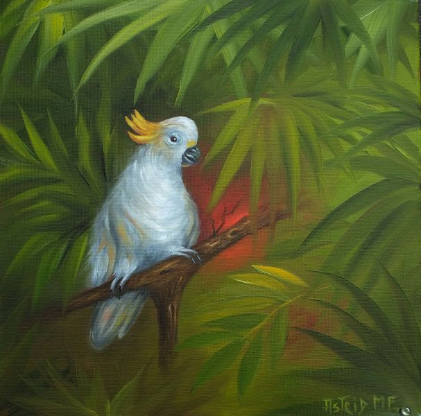 Kakadu, Weiß, Ölmalerei, Natur, Gelb grün, Blätter