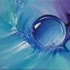 Ölmalerei, Blau, Rund, Fantasie