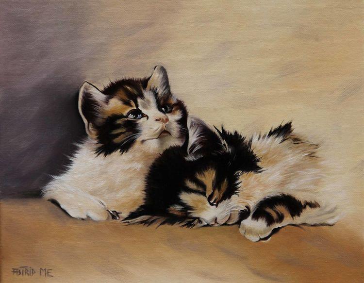 Katze, Schwarz, Fell, Braun, Natur, Ölmalerei