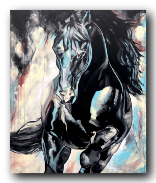 Pferde, Abstrakt, Acrylpainting, Dunkel, Schön, Acrylmalerei